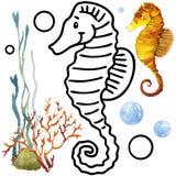 Fauna do recife de corais do livro para colorir Ilustração dos peixes dos desenhos animados para o entretenimento da criança Fotografia de Stock