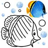 Fauna do recife de corais do livro para colorir Ilustração dos peixes dos desenhos animados para o entretenimento da criança Fotos de Stock Royalty Free