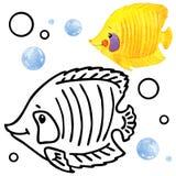 Fauna do recife de corais do livro para colorir Ilustração dos peixes dos desenhos animados para o entretenimento da criança Foto de Stock