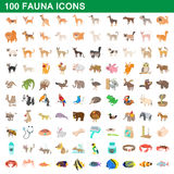 100 fauna icons set, cartoon style Stock Photography