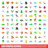 100 fauna icons set, cartoon style. 100 fauna icons set in cartoon style for any design vector illustration Stock Photo