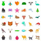 Fauna icons set, cartoon style Royalty Free Stock Photos