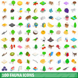 100 fauna icons set, isometric 3d style. 100 fauna icons set in isometric 3d style for any design vector illustration Stock Images