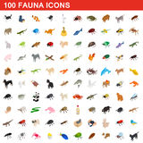 100 fauna icons set, isometric 3d style. 100 fauna icons set in isometric 3d style for any design vector illustration Royalty Free Stock Photos