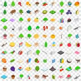 100 fauna icons set, isometric 3d style. 100 fauna icons set in isometric 3d style for any design vector illustration Royalty Free Stock Images