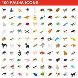 100 fauna icons set, isometric 3d style. 100 fauna icons set in isometric 3d style for any design illustration vector illustration