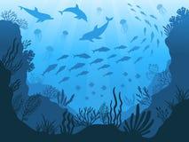 Fauna subacuática del océano Plantas, pescados y animales de mar profundo La alga marina, los pescados y el animal marinos siluet stock de ilustración