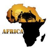 Fauna von Afrika auf der Karte Stockfoto