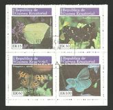 Fauna, Wildlife, Series Butterflies. Guinea Equatorial - Mini sheet of Non-postage stamps printed 1977, Multicolor Edition of offset printing with Topic Fauna Stock Image