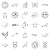 Faunal icons set, outline style. Faunal icons set. Outline set of 25 faunal vector icons for web isolated on white background Stock Image