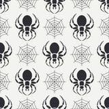 Faunamuster der wild lebenden Tiere des flachen einfarbigen Vektors nahtloses mit Spinne der schwarzen Witwe vereinfacht Überlage Stockfotografie