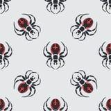 Faunamuster der wild lebenden Tiere des flachen Farbvektors nahtloses mit Spinne der schwarzen Witwe Lizenzfreie Stockbilder