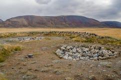 Faune Altai Endroit sacré des pierres empilées en cercle et t Images stock