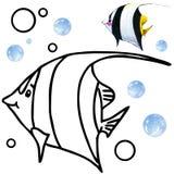 Faune de récif coralien de livre de coloriage Illustration de poissons de bande dessinée pour le divertissement d'enfant Photo libre de droits