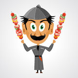 Faunny cartoon georgian holding kebab Royalty Free Stock Photography