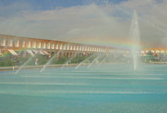 Fauntains with rainbow in Isfahan, Iran Royalty Free Stock Photos