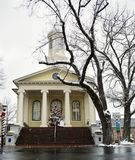 Fauquier County court house building in Warrenton Virginia at Christmas. In the snow with a large snow covered tree royalty free stock image