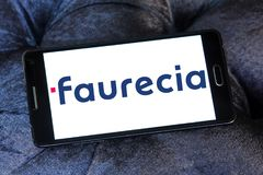 Faurecia automotive parts manufacturer logo. Logo of Faurecia company on samsung mobile. Faurecia international automotive parts manufacturer Stock Photo
