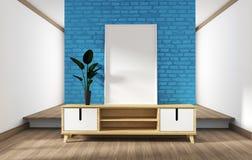 Fausse conception haute d'armoire, salon moderne avec le mur de briques bleu sur le plancher en bois blanc rendu 3d illustration de vecteur