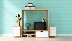 Fausse conception haute d'armoire, salon moderne avec le mur de briques en bon état sur le plancher en bois blanc rendu 3d illustration de vecteur
