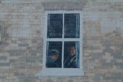 Fausse fenêtre peinte sur un mur Photos stock