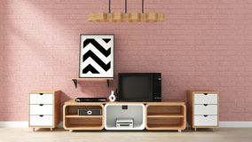 Fausse maquette haute de Cabinet sur le mur de briques rose dans le salon japonais rendu 3d illustration stock