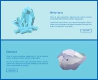 Fausse pierre et Diamond Online Web Posters Set Photos stock