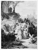 Faust Illustration: Aldeanos después de la masa de la iglesia Foto de archivo libre de regalías