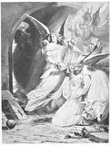 Faust Illustration. Classic illustration depicting Gretchen is saved by angels, drawn by August von Kreling in Wolfgang von Goethes Faust, published in Munich stock illustration