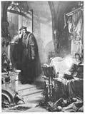 Faust Illustration: Fausto filosofa en la noche Foto de archivo libre de regalías