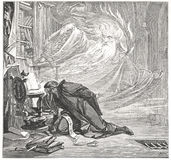 Faust is speaking with Spirit. Classic illustration depicting Faust is speaking with Spirit, drawn by August von Kreling in Wolfgang von Goethe's Faust Stock Photography