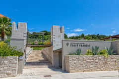 Faust Vrancic museum. PRVIC LUKA, CROATIA - June 5, 2016 Entrance to the museum of Croatian Renaissance inventor Faust Vrancic, today known as Homo Volans the Royalty Free Stock Photography