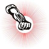 Faust zusammengepreßt mit starburst Lizenzfreie Stockbilder