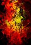 Faustzeichnung, Bleistiftskizze auf Papier, Farbeffekt und Feuerhintergrund Stockfotos