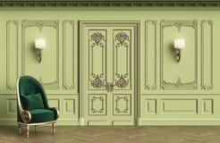 Fauteuil classique dans l'intérieur classique avec l'espace de copie illustration libre de droits