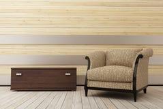 Fauteuil dans le room_2 en bois Images libres de droits