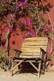 Fauteuil en bois sous un arbre de bouganvillée Photos stock