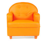 Fauteuil en cuir de couleur orange Photo libre de droits