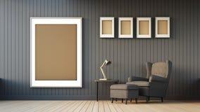 Fauteuil et cadre gris Photographie stock