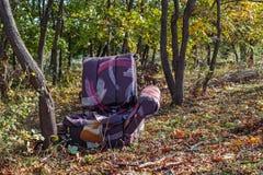 Fauteuil jeté dans la forêt image libre de droits