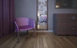 Fauteuil rose foncé simple près de mur avec le miroir modelé Images stock