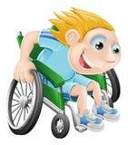 Fauteuil roulant emballant l'homme de dessin animé Images libres de droits