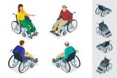 Fauteuil roulant Mann dans le fauteuil roulant Illustration isométrique plate du vecteur 3d Jour international des personnes avec Images libres de droits