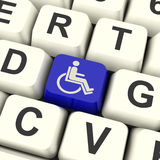 Fauteuil roulant principal handicapé Access d'expositions Photo libre de droits