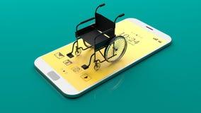 Fauteuil roulant sur un smartphone illustration 3D Photos stock