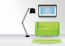 Fauteuil vert réaliste avec le tapis, la lampe et le photoframe sur le mur Illustration intérieure de vecteur Image stock