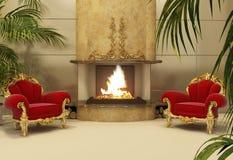 Fauteuils baroques avec la cheminée dans l'intérieur royal Images libres de droits