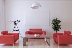 Fauteuils en cuir rouges, une table, une usine de maison et un télescope dedans Image libre de droits