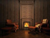 Fauteuils et cheminée Image stock