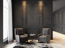 Fauteuils et table basse dans l'intérieur noir classique Moquerie d'intérieur  Photographie stock libre de droits